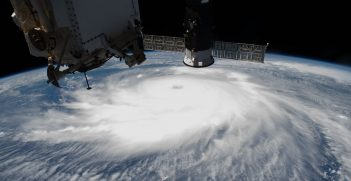 Hurricane Laura is pictured on 26 August 2020 off the coast of the Texas-Louisiana border as the International Space Station orbited above the Gulf of Mexico. Source: NASA Johnson, https://bit.ly/2RR6HG7