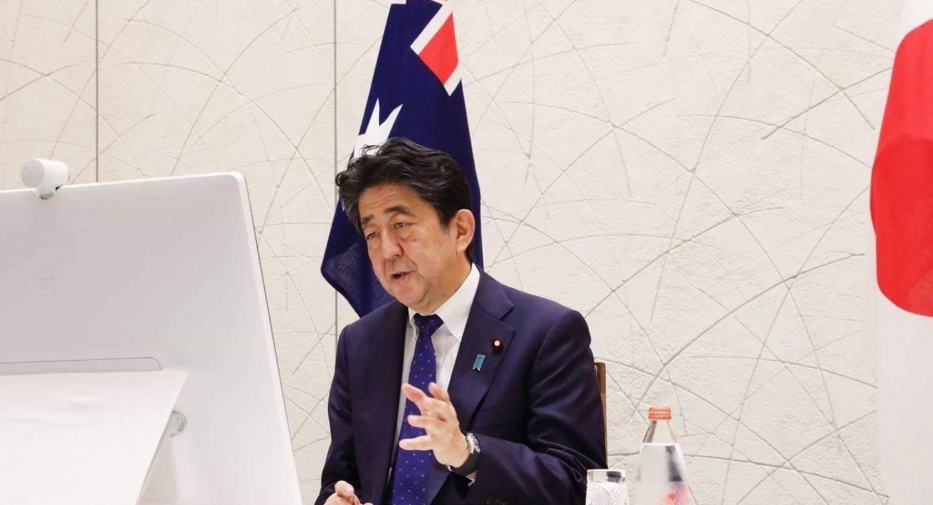 Japan-Australia Leaders Video Teleconference Meeting (MOFA) Source: Cabinet Public Relations Office, https://bit.ly/3gVAVlp