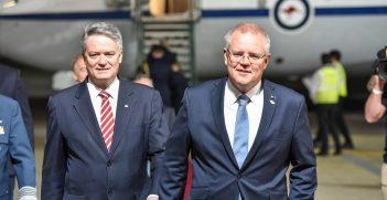 Australian Prime Minister Scott Morrison and Minister for Finance Mattias Cormann.  Source: G20 Argentina https://bit.ly/33EJfRH
