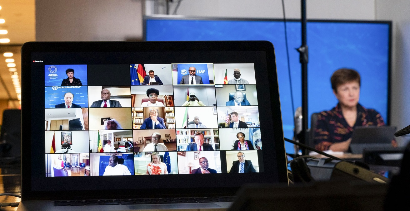 IMF Managing Director Kristalina Georgieva participates in a zoom call on Mobilizing with Africa during the 2020 Annual Meetings at the International Monetary Fund in Washington, DC, on October 9, 2020. Source: IMF/Cory Hancock https://bit.ly/3nUkevh