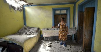 House in Tovuz District of Azerbaijan damaged by Armenian Armed Forces due to clashes in July 2020. Source: Voice of America https://bit.ly/3dPdudx