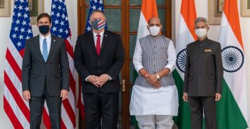 Secretary Pompeo and Defense Secretary Esper Participate in the U.S.-India 2+2 Ministerial Dialogue with Indian External Affairs Minister Dr. Jaishankar and Indian Defence Minister Singh. Source: State Department/Ron Przysucha https://bit.ly/3p1kDMX