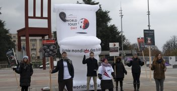 Demonstration in front of Palais des Nations for World Toilet Day on 19 November. Source: UN Photo/Jean Marc Ferré https://bit.ly/3kLGEMt
