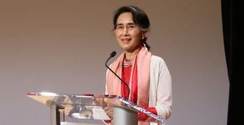 Myanmar leader Aung San Suu Kyi delivers an address at Asia Society in New York. Source: Asia Society https://bit.ly/3fEwUTv