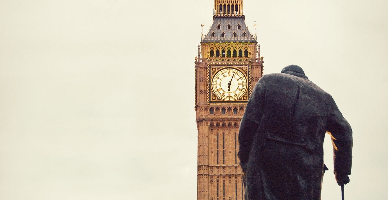 A statue of Winston Churchill in front of London's Big Ben. Source: Pxfuel https://bit.ly/2INxa5V