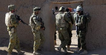 Australian and Afghan National Army soldiers work together to search the Mirabad Valley Region for weapons and Improvised Explosive Device components. Source: ResoluteSupportMedia https://bit.ly/2VkC3qb