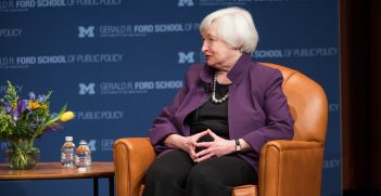 Janet Yellen visited the University of Michigan for a conversation with Susan M. Collins, Joan and Sanford Weill Dean of the Gerald R. Ford School of Public Policy. Source: Gerald R. Ford School of Public Policy University of Michigan https://bit.ly/3lrbD0w