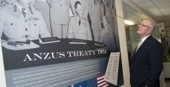Australian Prime Minister Scott Morrison visits the ANZUS Corridor that honors the 1951 Australian-New Zealand-United States security treaty, at the Pentagon, Washington, D.C., Sept. 20, 2019. Source: U.S. Secretary of Defense https://bit.ly/2VqezQM