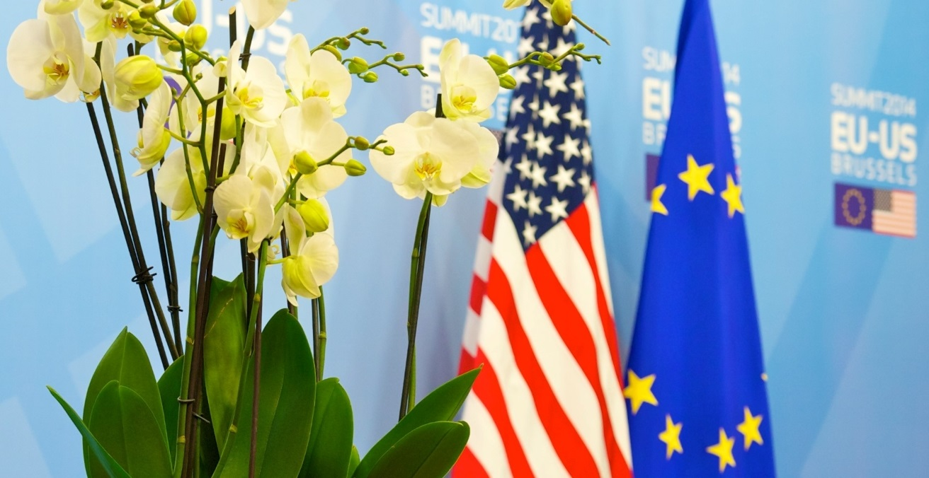 The US and EU flags and a bouquet of orchids at the VIP entrance of the 2014 EU-US summit. Source: Herman van Rompuy https://bit.ly/2JHFsgr