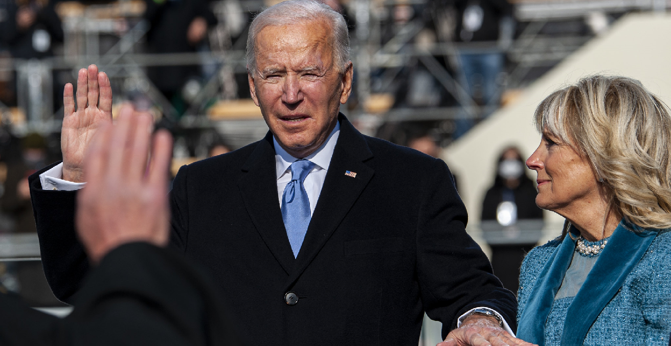 President of the Unites States Joseph R. Biden Jr. gives the Oath of Office during the 59th Presidential Inauguration at the U.S. Capitol, Washington, D.C. Source: JFHQ-NCR/MDW https://bit.ly/3prj7nh