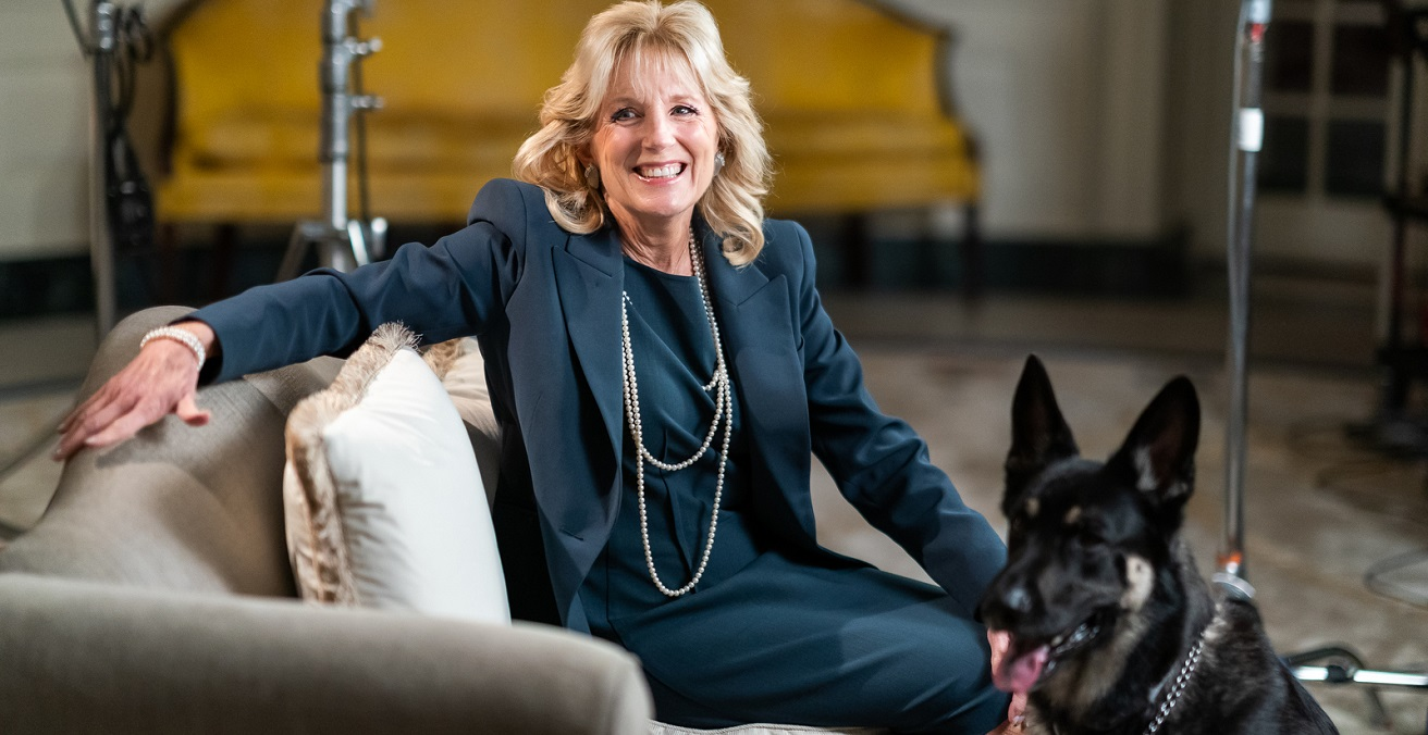 First Lady Dr. Jill Biden and the Biden family dog. Source: The White House https://bit.ly/3t6jnt6