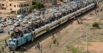 Protestors on a train from Atbra city about 300 km from Khartoum. Source: Osama Elfaki https://bit.ly/3tKNUxw