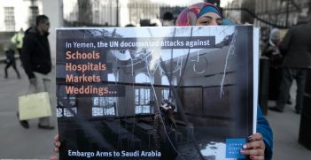 To mark the third anniversary of the UK backed Saudi terror bombing campaign of Yemen, about a dozen activists staged a protest at Trafalgar Square and later opposite Downing Street. The sign reads