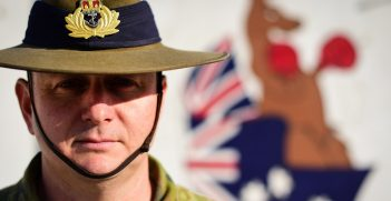 Royal Australian Navy Commander Sands Skinner is the director of maintenance for TAAC-Air on Forward Operating Base Oqab, Kabul, Afghanistan, on Jan. 26, 2019. Skinner led a formation in observance on Australia Day on the FOB as the highest ranking Australian officer in attendance. Source: U.S. Air Force/Staff Sgt. Ariel D. Partlow https://bit.ly/3ukf8ug
