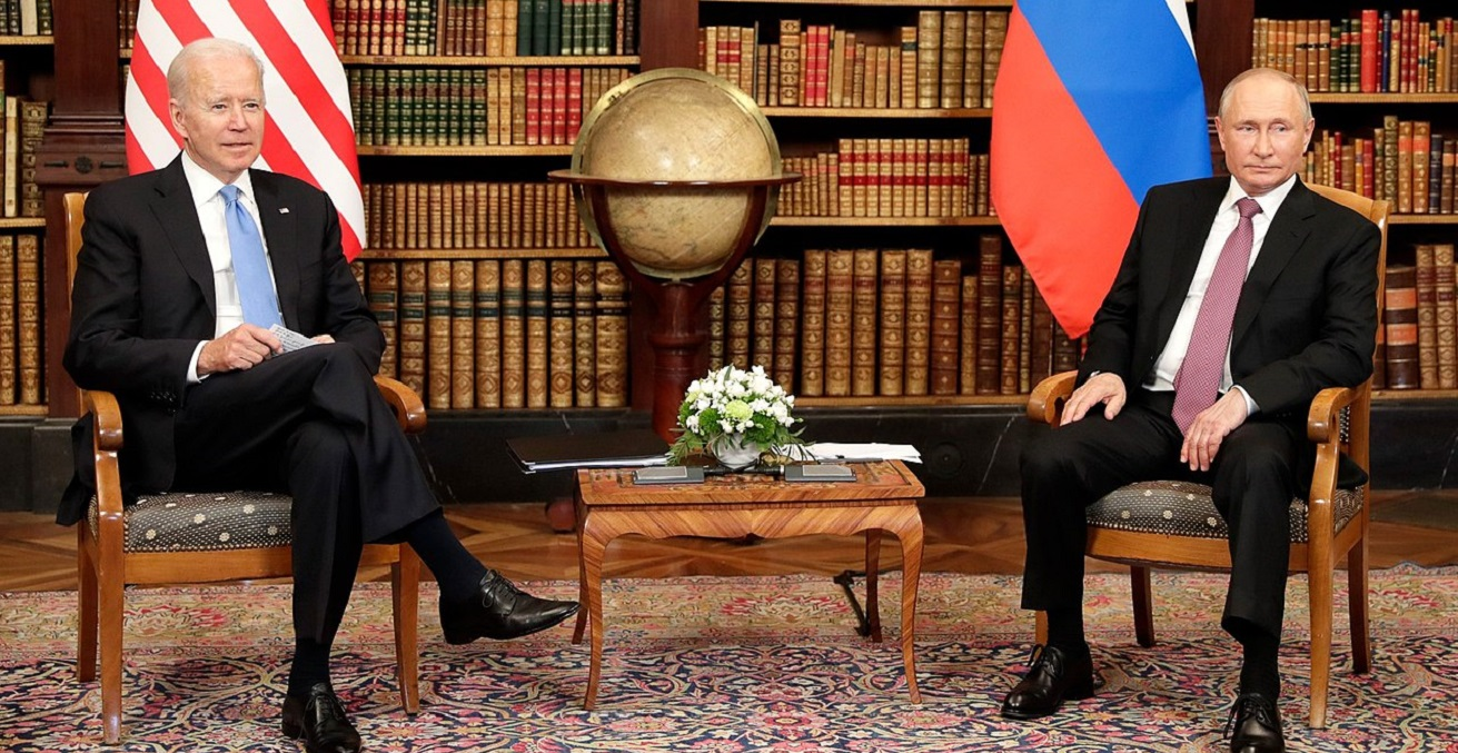 Talks between Russian President Putin and President of the United States of America Biden in  June 2021. Photographer, Kremlin sourced from Wikimedia Commons, https://bit.ly/3wRYa8y