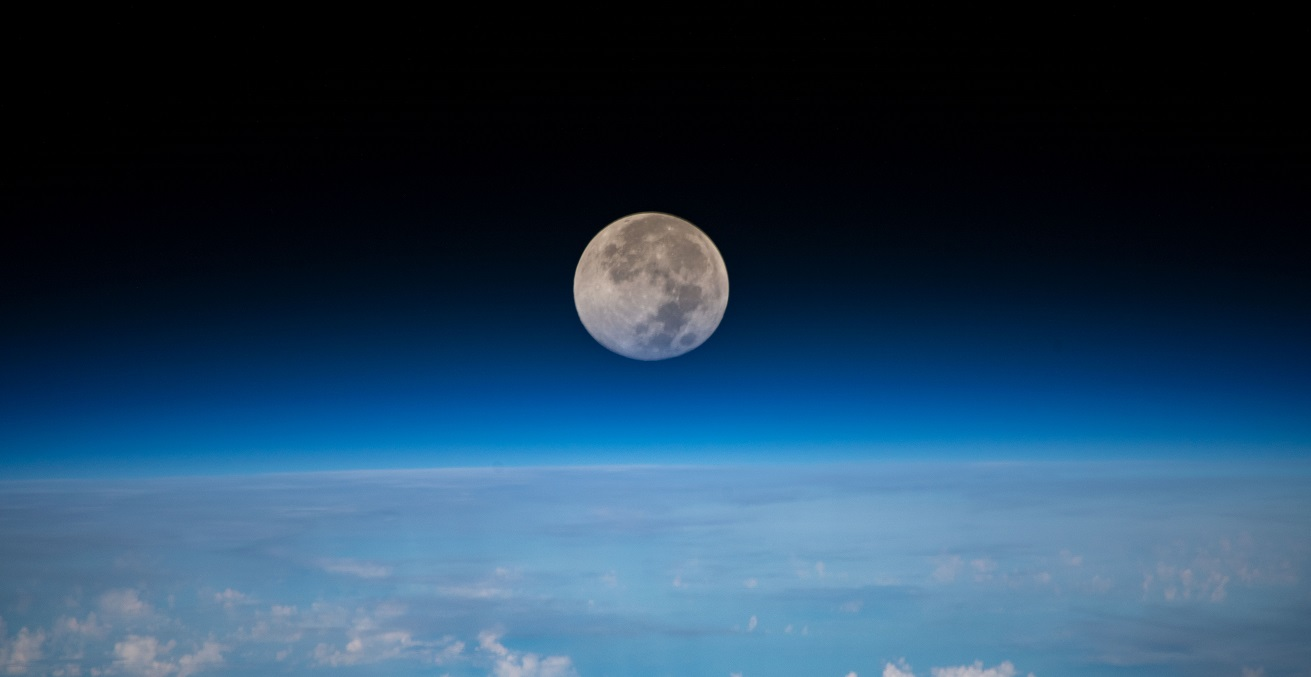 The full moon is pictured as the International Space Station orbited 254 miles above the Pacific Ocean northeast of Guam. Source: NASA https://go.nasa.gov/3igiNH9