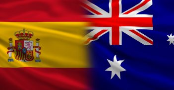The flags of Spain and Australia. Source: ibreakstock/Shutterstock