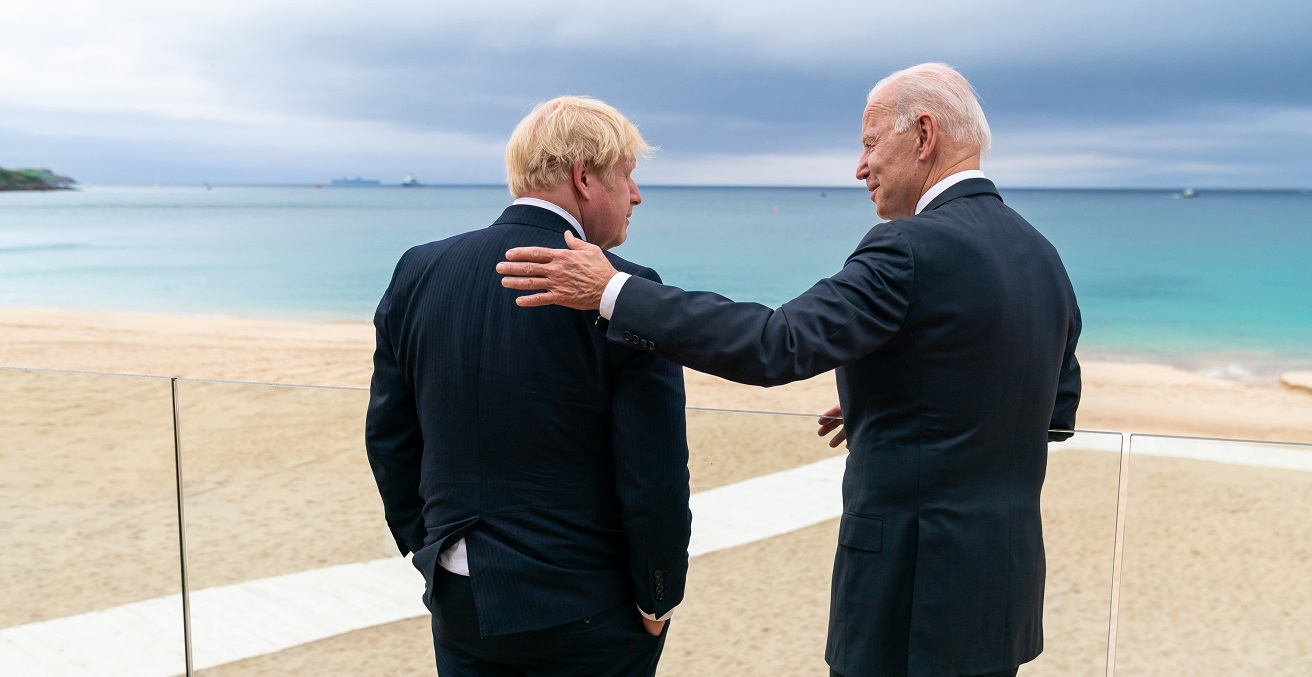 President Joe Biden talks with British Prime Minister Boris Johnson on Thursday, June 10, 2021, at the Carbis Bay Hotel and Estate in Cornwall, England. (Official White House Photo by Adam Schultz) https://bit.ly/36WvakW