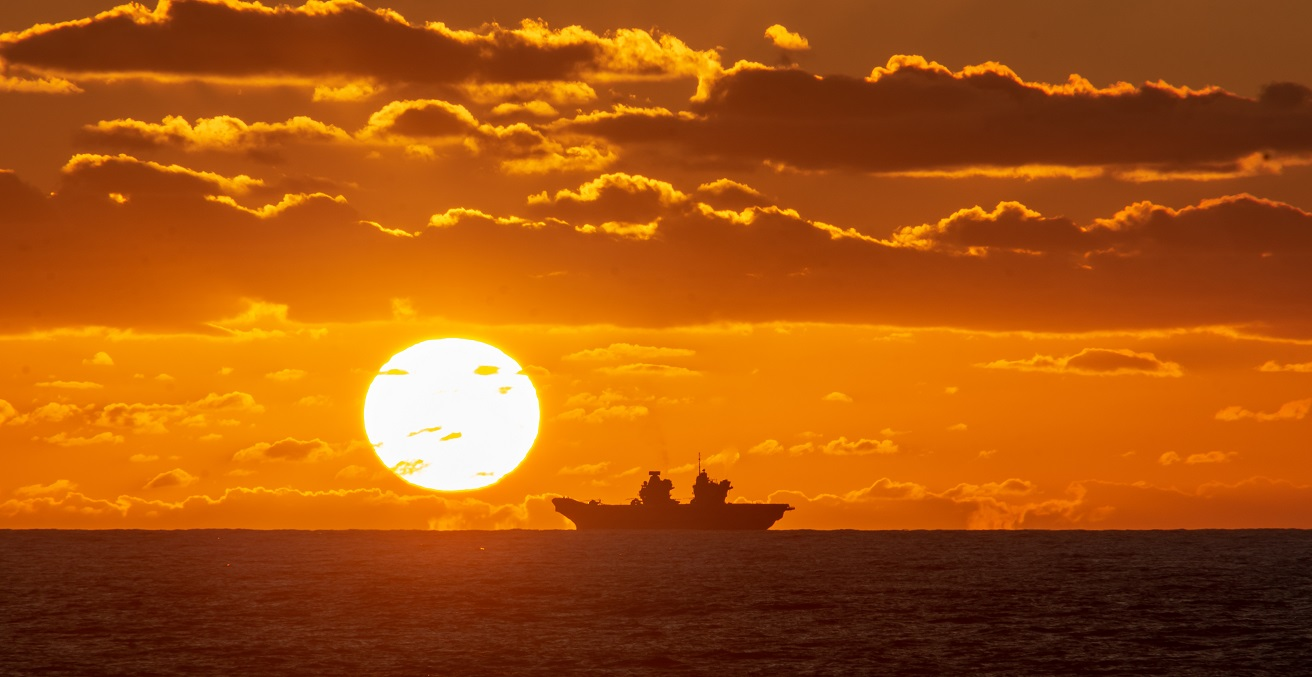 ATLANTIC OCEAN (Sept. 23, 2019) Royal navy aircraft carrier HMS Queen Elizabeth (R08) transits the Atlantic Ocean, Sept. 23. The aircraft carrier USS Dwight D. Eisenhower (CVN 69), with embarked Carrier Air Wing 3, is underway conducting the Tailored Ship's Training Availability (TSTA) and Final Evaluation Problem (FEP) as part of the basic phase of the Optimized Fleet Response Plan. (Photo courtesy of HNLMS De Ruyter)