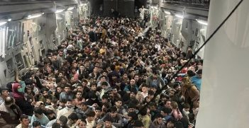 A U.S. Air Force C-17 Globemaster III safely transported approximately 640 Afghan citizens from Hamid Karzai International Airport Aug. 15, 2021. U.S. Air Force courtesy photo.