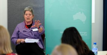 Dr Sue Boyd FAIIA addressing young professionals on 'Diplomacy in Crisis'. AIIA Photo.