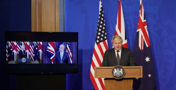 Prime Minister Boris Johnson joins US President Joe Biden and the Australian Prime Minister Scott Morrison from No9 Downing Street at the launch of the AUKUS Partnership. Picture by Andrew Parsons / No 10 Downing Street https://bit.ly/3CyQkDx
