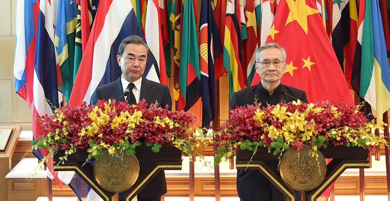 China's Foreign Minister and Thai Foreign Minister stand together during a joint press conference at the Ministry of Foreign Affairs, Bangkok Thailand on July 24, 2017. Source: suchitra poungkoson/Shutterstock