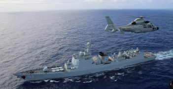 A helicopter attached to Chinese Navy ship multirole frigate Hengshui (572) participates in a maritime interdiction event with the Chinese Navy guided-missile destroyer Xi'an (153) during Rim of the Pacific. Twenty-six nations, more than 40 ships and submarines, more than 200 aircraft and 25,000 personnel are participating in RIMPAC from June 30 to Aug. 4, in and around the Hawaiian Islands and Southern California. The world's largest international maritime exercise, RIMPAC provides a unique training opportunity that helps participants foster and sustain the cooperative relationships that are critical to ensuring the safety of sea lanes and security on the world's oceans. RIMPAC 2016 is the 25th exercise in the series that began in 1971. (Chinese navy photo by Sun Hongjie)