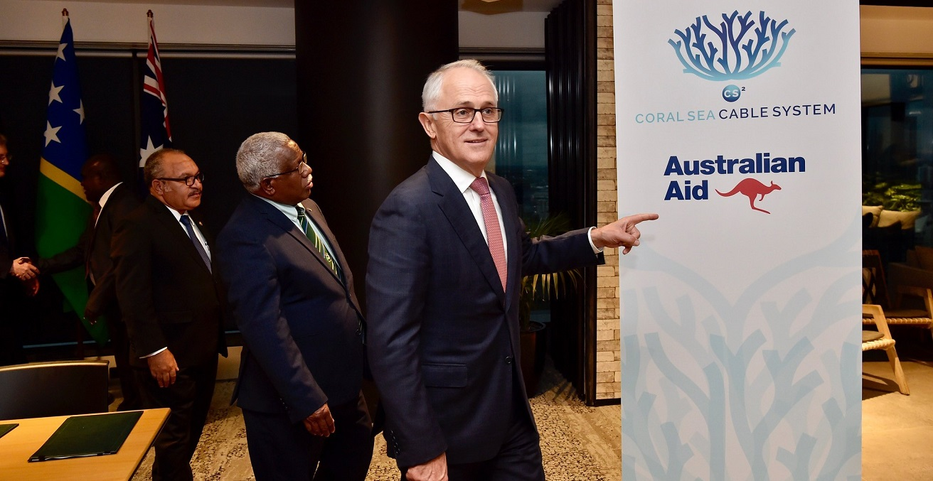Prime Ministers of Australia, PNG and Solomon Islands at trilateral MoU signing for the Coral Sea Cable, Brisbane - July 2018. Source: DFAT https://bit.ly/306md8p