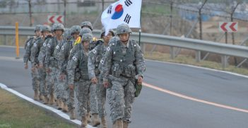 Republic of Korea Army officers joined Korean Augmentation to the United States Army Soldiers (KATUSAs) for a rucksack march in commemoration of the 62nd anniversary of the Korean War. Source: U.S. Army photos by Cpl. Han, Jae Ho https://bit.ly/3Amr81e