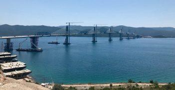 Pelješac bridge in final stage of construction (June 2021)  https://commons.wikimedia.org/wiki/File:Pelje%C5%A1ac_bridge_-_Pelje%C5%A1ki_most_-_construction_site_2021-06-18.jpg